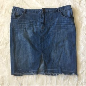 Who What Wear Jean Skirt With Fringe Bottom